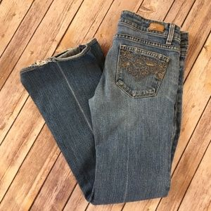 Paige Laurel Canyon Embroidered Distressed Jeans